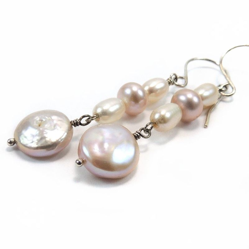 Freshwater Pearl Earrings In Shades Of Pink And Cream Product Images
