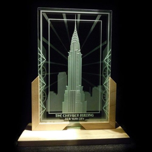 Chrysler Building Art Deco Decorative Art Glass Display